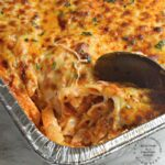 close up of cheey gooey tray of hot baked ziti