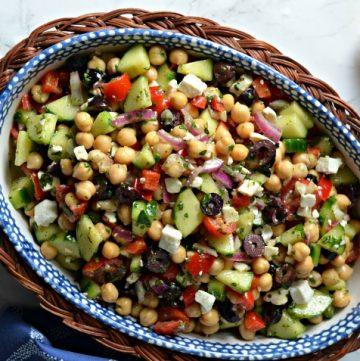 mediterranean chickpea salad featured.jpg 360x361 - Mediterranean Chickpea & Feta Salad