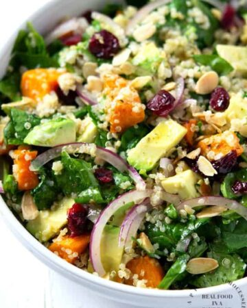 bowl of roasted sweet potato, spinach & quinoa salad