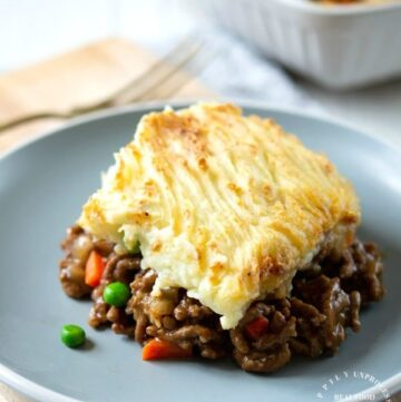 shepherds pie on plate 360x361 - Traditional Shepherd's Pie with Ground Beef