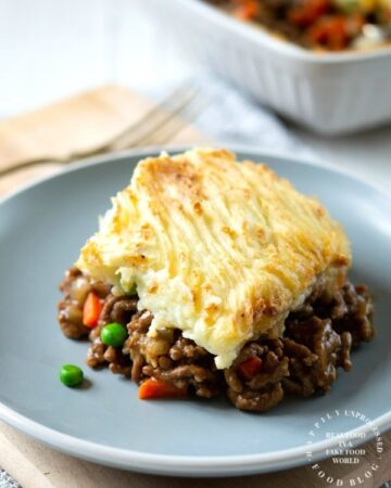 shepherds pie on plate 360x450 - Traditional Shepherd's Pie with Ground Beef