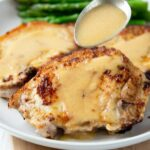 smothered pork chops in a buttermilk gravy #porkchops #pork #healthy #dinner #happilyunprocessed