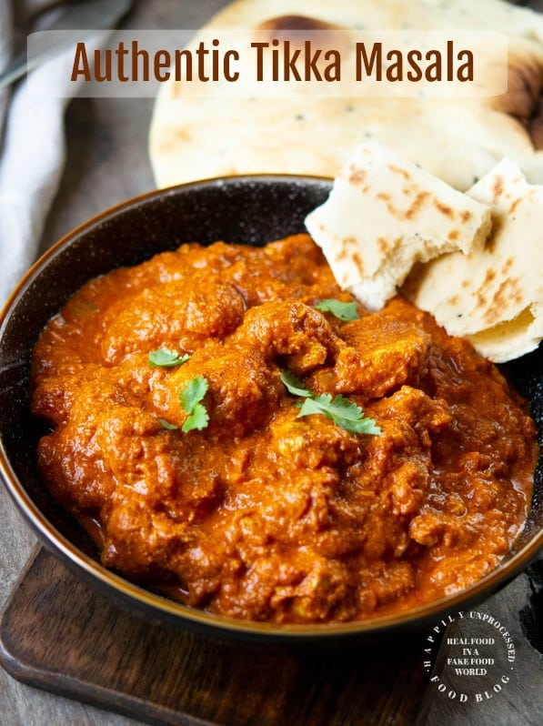 Authentic Tikka Masala rich in flavor wtih naan bread #indian #tikkamasala #healthy #cleaneating #happilyunprocessed