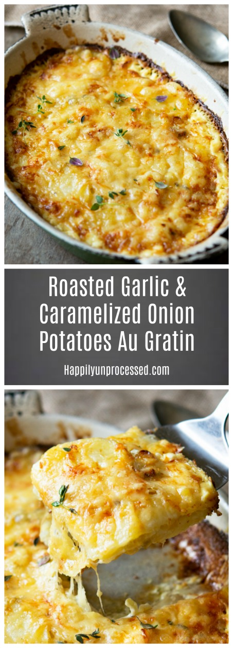 Roasted Garlic Caramelized Onion Potatoes Gratin Dauphinoise Pin.jpg - Roasted Garlic & Caramelized Onion Potatoes Gratin Dauphinoise
