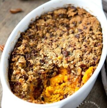 SWEET POTATO CASSEROLE - No Thanksgiving is complete without these sweet potatoes at your table. Lower in sugar. #sweetpotatoes #thanksgiving #healthy #happilyunprocessed