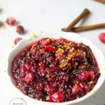 HOMEMADE CRANBERRY SAUCE - real cranberries, sugar , orange juice, water, cinnamon stick is all it takes for fresh, flavorful cranberry sauce #cranberry #thanksgiving #sidedish #cleaneating #happilyunprocessed