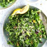 Lemon Garlic Kale Salad with Pistachios, Pine Nuts and Cranberries