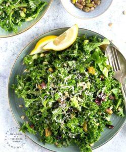 lemony garlic kale salad 249x300 - Mediterranean Chickpea & Feta Salad