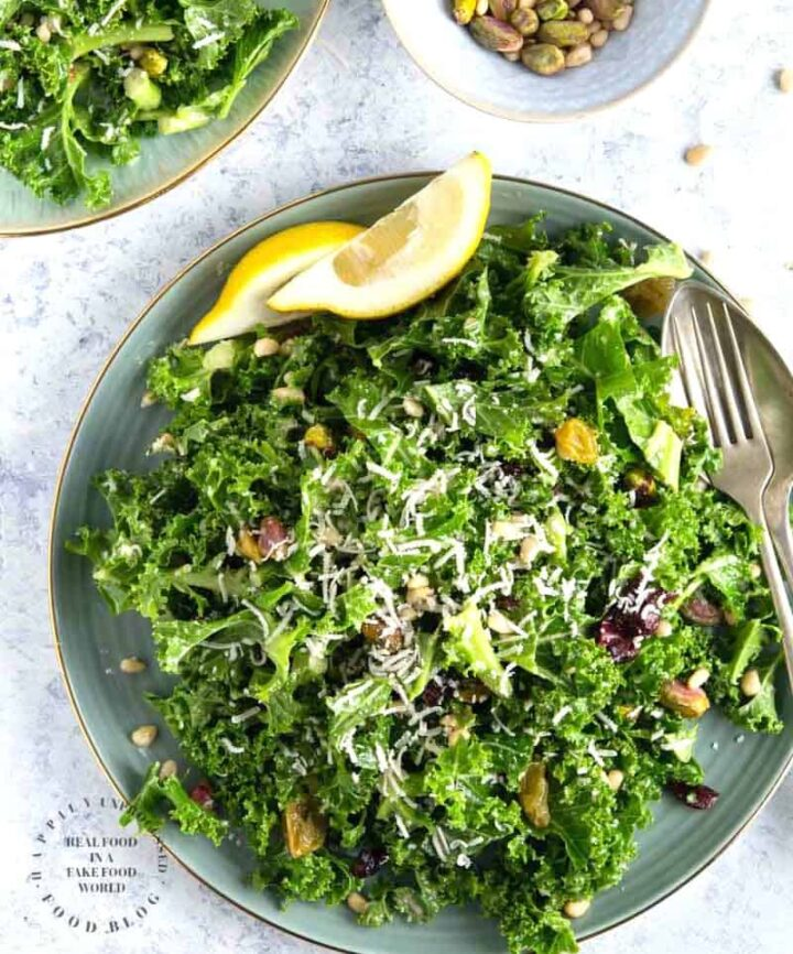 lemony garlic kale salad 720x866 - Lemon Garlic Kale Salad with Pistachios, Pine Nuts and Cranberries