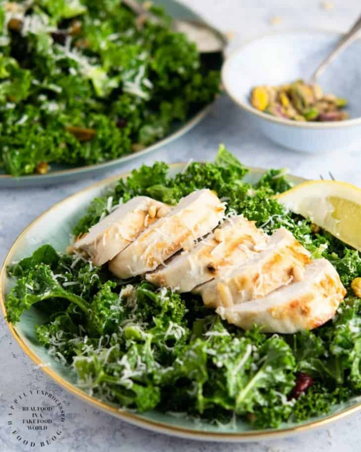 lemony garlic kale salad with chicken 720x901 - Lemon Garlic Kale Salad with Pistachios, Pine Nuts and Cranberries
