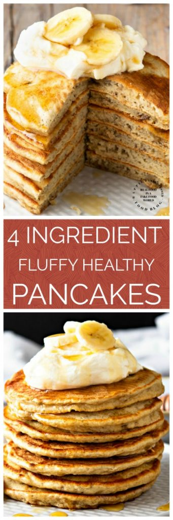 4 INGREDIENT PANCAKES - it only takes 4 ingredients to make healthy delicious & fluffy pancakes you will feel good about feeding your family #pancakes #breakfast #cleaneating #happilyunprocessed
