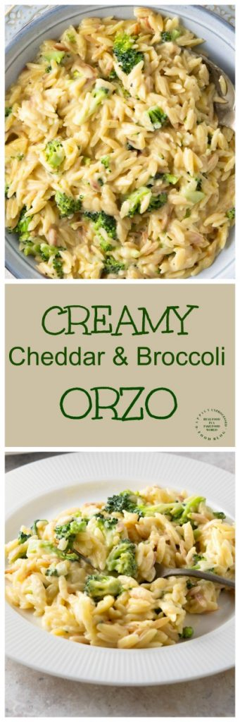 CREAMY CHEDDAR & BROCCOLI ORZO - one of the easiest 15 min side dishes you'll make #orzo #pasta #sidedish #healthysides #cleaneating #happilyunprocessed