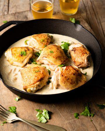 CHICKEN THIGHS IN A CREAMY DIJON SAUCE #chickenthighs #dinner #happilyunprocessed