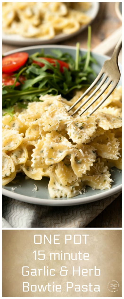 CREAMY ONE POT 15 MINUTE GARLIC AND HERB BOWTIE PASTA SIDE DISH