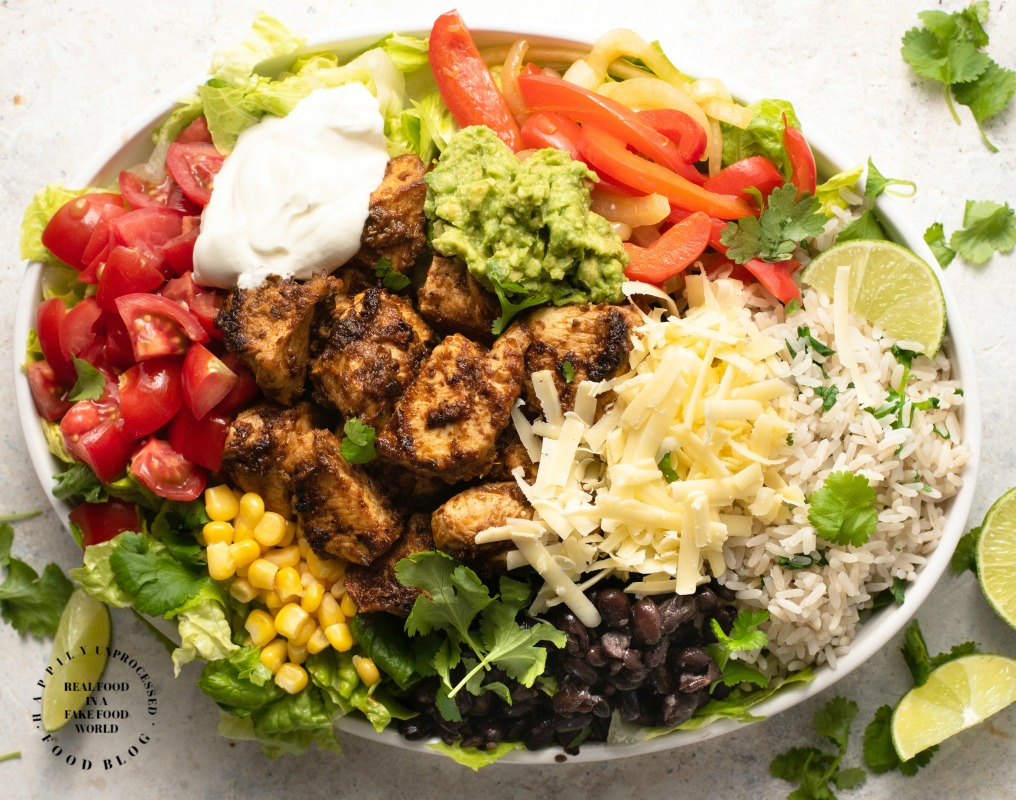 Mexican Chipotle Chicken Burrito Bowl Happily Unprocessed