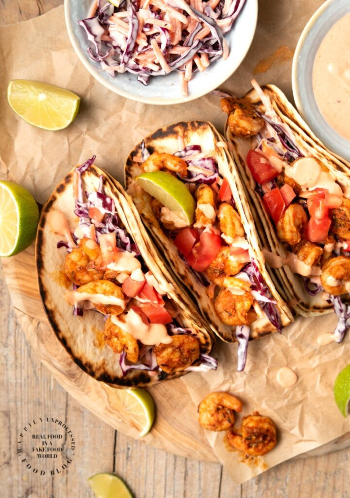 spicy shrimp tacos 1 720x1024 - Blackened Shrimp Tacos with Slaw & Sriracha Sauce