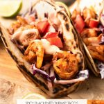 Blackened Shrimp Tacos with Slaw & Sriracha Sauce