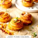sweet potato stackers 2pin 150x150 - Caramelized Onion, Mushroom, Feta and Spinach Pizza with White Sauce