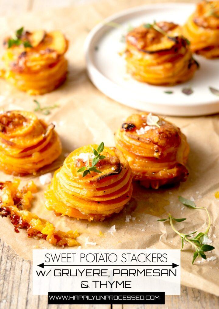 sweet potato stackers 2pin 720x1013 - Sweet Potato Stackers w/ Gruyere, Parmesan Cheese & Thyme