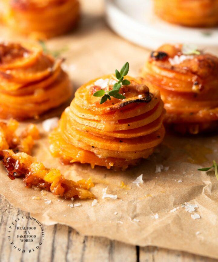 sweet potato stackers 3 720x865 - Sweet Potato Stackers w/ Gruyere, Parmesan Cheese & Thyme