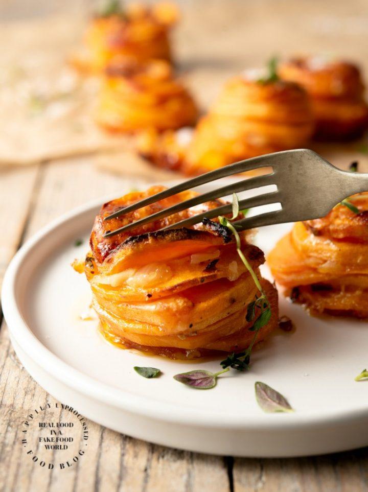 sweet potato stackers1 720x963 - Sweet Potato Stackers w/ Gruyere, Parmesan Cheese & Thyme