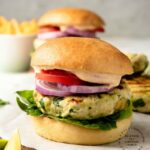 Mouthwatering Chicken Burgers with Spinach, Avocado & Gruyere