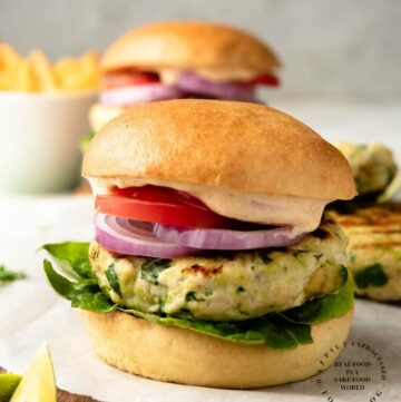 CHICKEN BURGERS WITH AVOCADO AND GRUYERE CHEESE - packed with flavor, moist and a great burger #chicken #burgers #grill #summer #weeknightdinner #happilyunprocessed.com