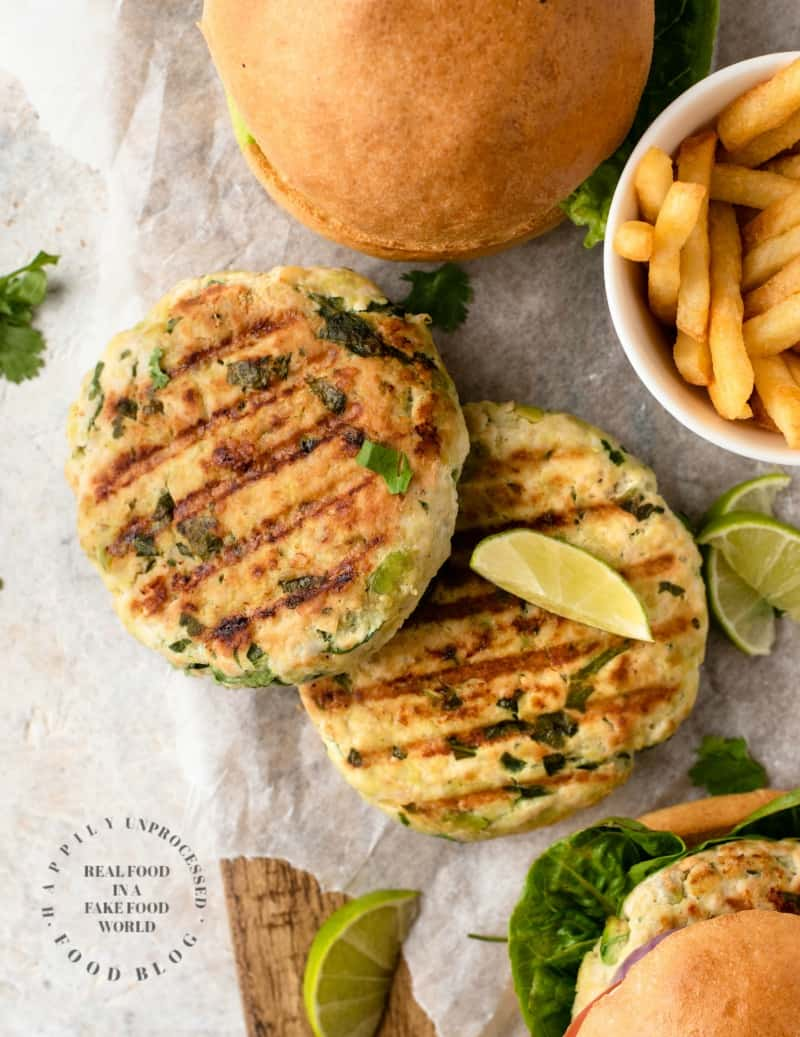 Mouthwatering Chicken Burgers With Spinach Avocado Gruyere Happily Unprocessed