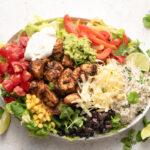 Copycat Chipotle Burrito Bowl with cilantro lime rice