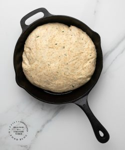 ROSEMARY SKILLET BREAD - rising dough in a bowl baked until golden brown #skillet #bread #easy #happilyunprocessed