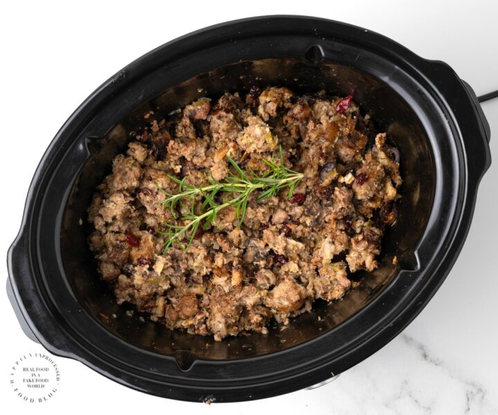 SLOW COOKER STUFFING with SAUSAGE CRANBERRY and PECANS 4 720x600 - Slow Cooker Stuffing with Sausage, Cranberry & Pecans