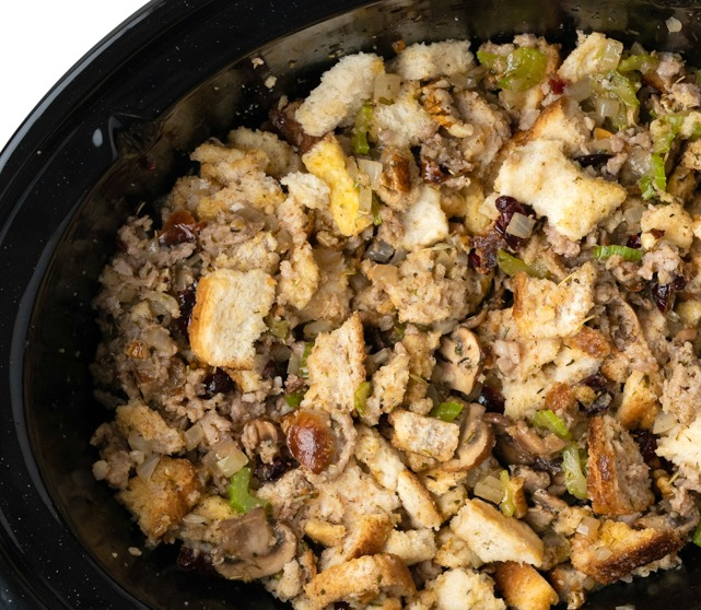 SLOW COOKER STUFFING with SAUSAGE CRANBERRY and PECANS 7 - Slow Cooker Stuffing with Sausage, Cranberry & Pecans