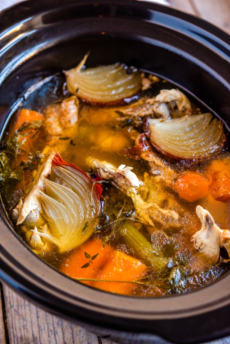 Crock Pot Turkey Stock 1.JPG 1 - Nourishing Turkey Bone Broth (in slowcooker)