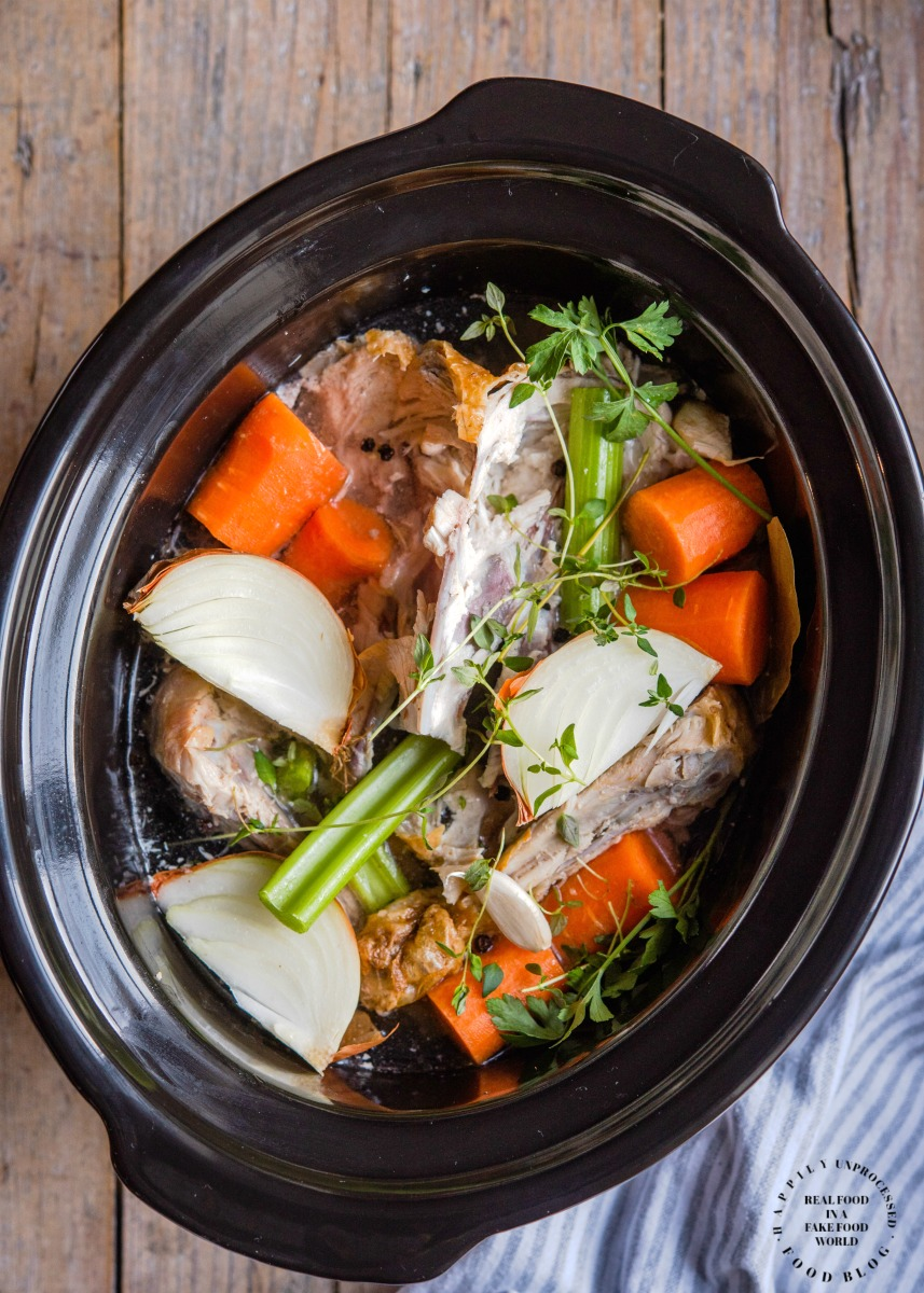 Crock Pot Turkey Stock2.jpg - Nourishing Turkey Bone Broth (in slowcooker)