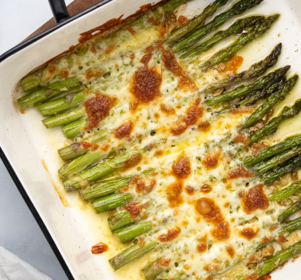 Baked Cod crop - Roasted Asparagus with Garlic and Mozzarella