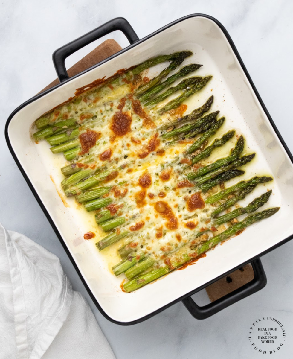 Baked Cod - Roasted Asparagus with Garlic and Mozzarella
