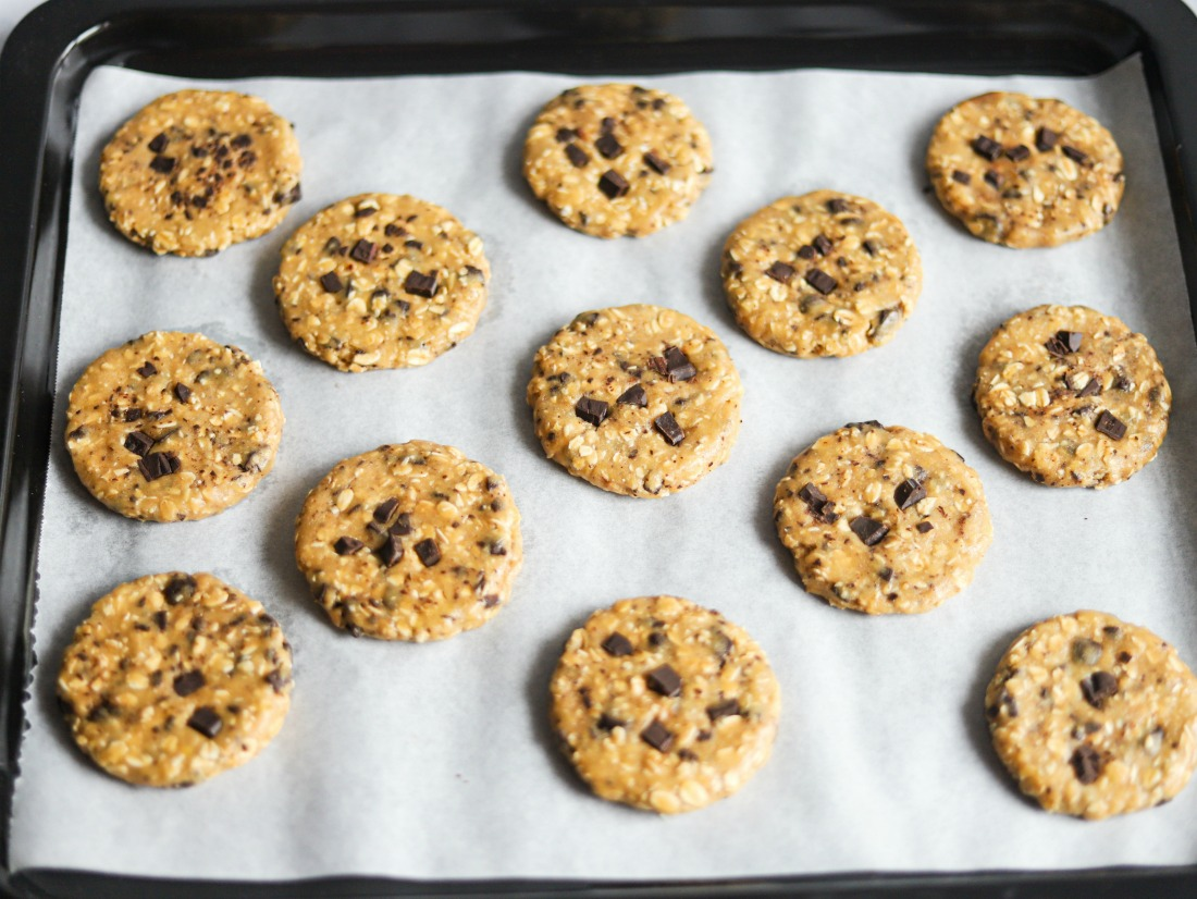 WHOLE WHEAT OAT COOKIE unbaked on baking sheet - Whole Wheat Oat Cookies