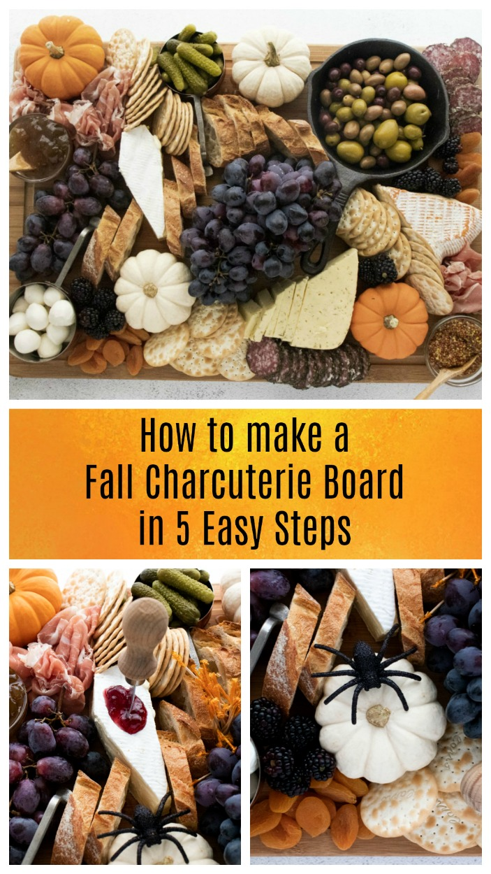 How to make a fall charcuterie board in 5 easy steps using pumpkins meats cheeses and dips - How to make a Fall Charcuterie Board in 5 Easy Steps