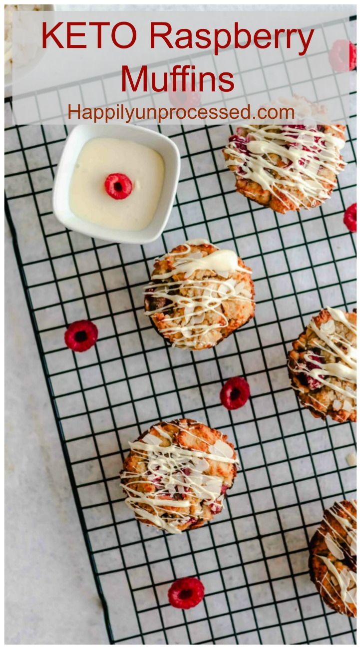 KETO low carb raspberry muffins made with almond and coconut flours - Keto Raspberry Muffins
