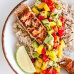 salmon with mango and avocado salsa brown rice and lime slice 150x150 - Healthy Grilled Salmon with Lime Mango Salsa