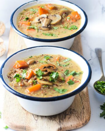 Mushroom Coconut Quinoa Soup is a healthy gluten free, dairy free, vegan soup packed with nutrition #happilyunprocessed