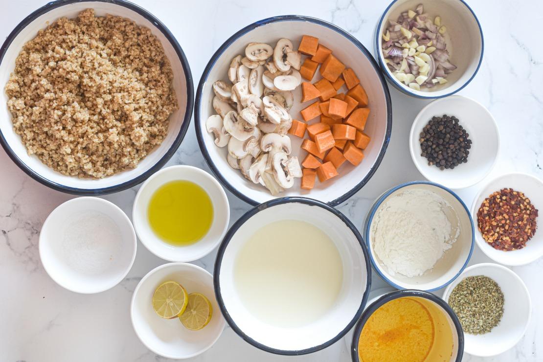 Mushroom Coconut Quinoa Soup ingredients - Vegan Mushroom & Coconut Quinoa Soup