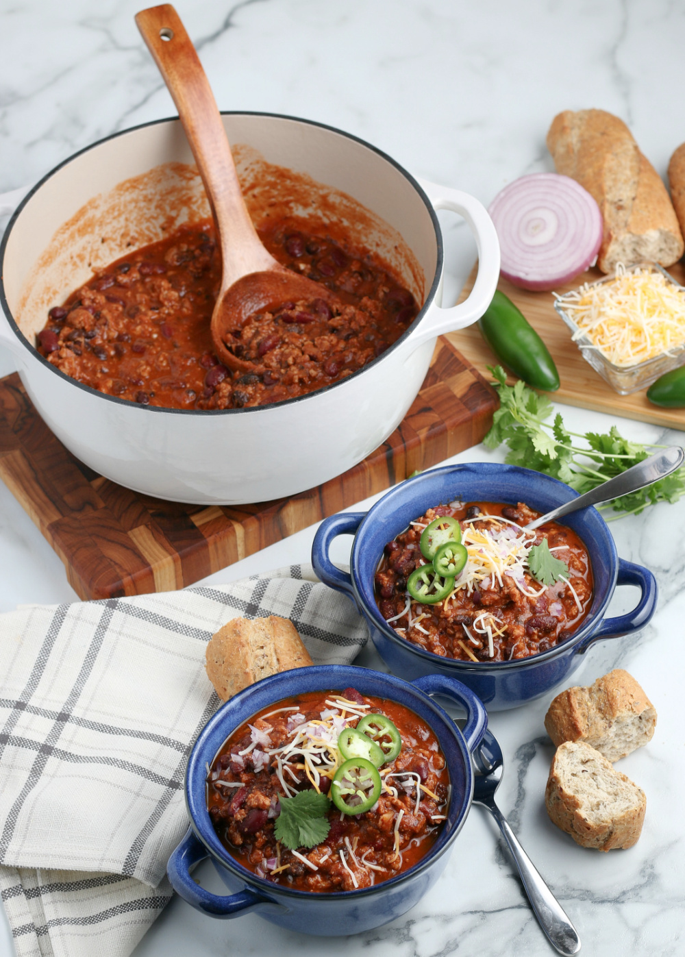 Turkey Chili made in a dutch oven - Healthy Weeknight Turkey Chili