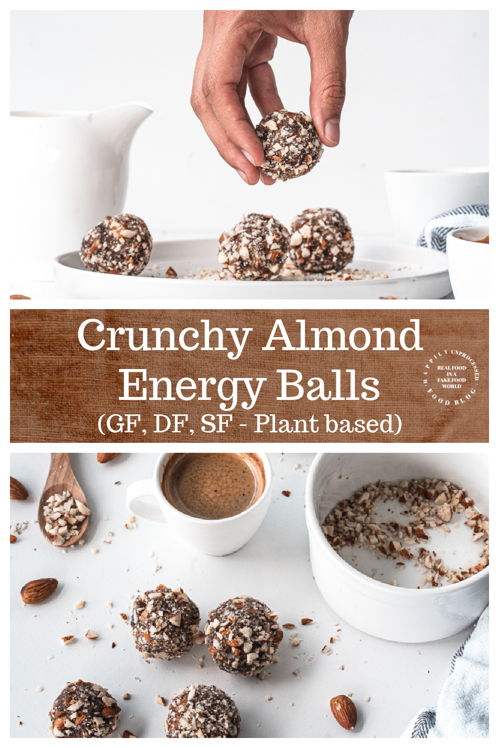 4 Ingredient Energy Balls for any time of day for a healthy alternative to packaged snacks plantbased glutenfree dairyfree - Crunchy Almond Energy Balls