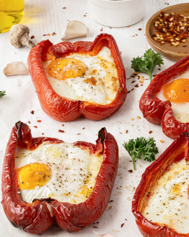 Egg Stuffed Red Peppers are a healthy breakfast