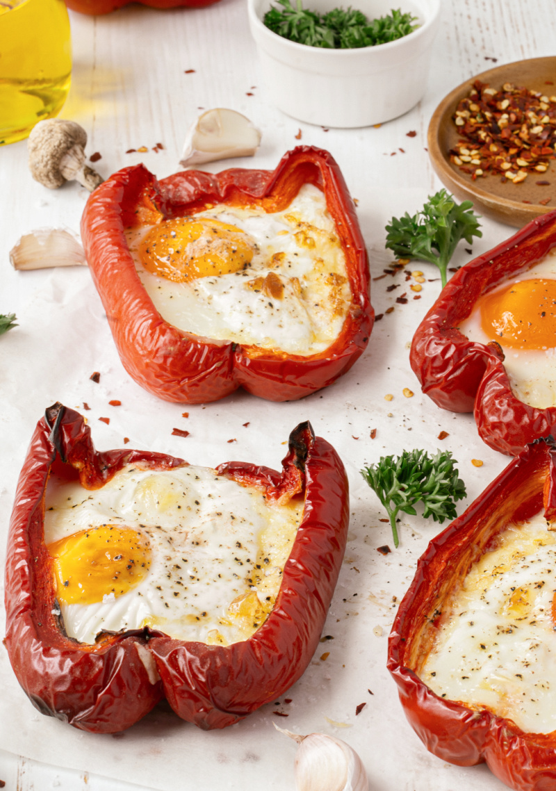 Egg Stuffed Breakfast Peppers with sunny side up eggs and cheese - Egg Stuffed Breakfast Peppers