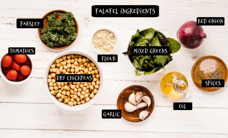 Falafel Bowl ingredients 1 - Falafel Bowls
