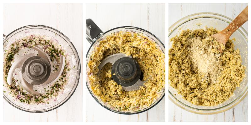 Falafel Bowl ingredients in a food processor - Falafel Bowls