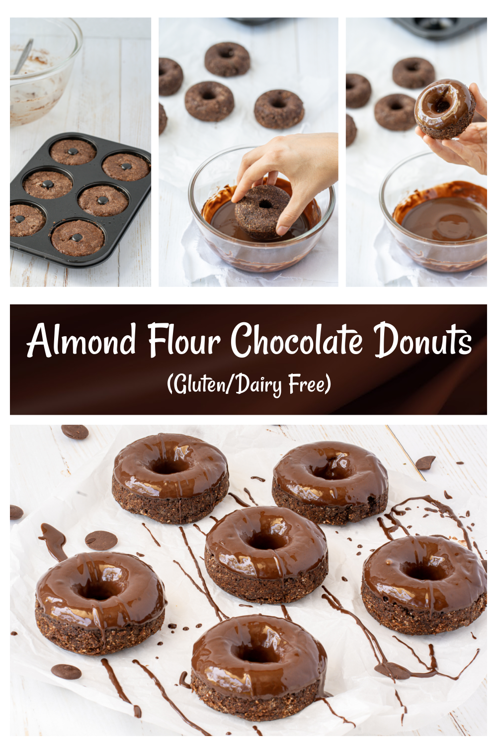 Healthy Almond and Coconut Flour Donuts that are gluten and dairy free happilyunprocessed - Almond Flour Chocolate Glazed Donuts