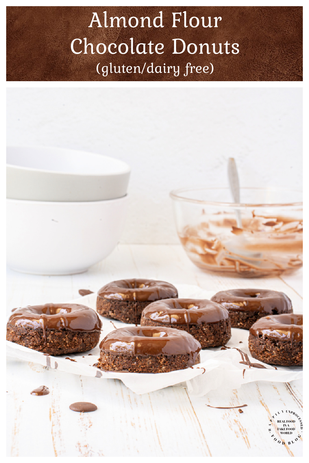 How to make healthy almond flour donuts with a chocolate glaze that are gluten free and dairy free - Almond Flour Chocolate Glazed Donuts